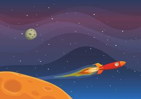 Voyage de vaisseau spatial dans l'espace vecteur