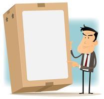 Livraison homme d'affaires et carton vecteur