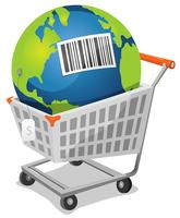 Terre à vendre avec code à barres vecteur