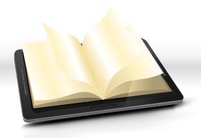 Livre ouvert dans une tablette PC vecteur