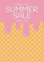 fond de vente d'été de crème glacée de texture de plaquette vecteur
