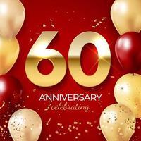 décoration de célébration d'anniversaire. nombre d'or 60 avec des confettis, des ballons, des paillettes et des rubans de banderoles sur fond rouge vecteur