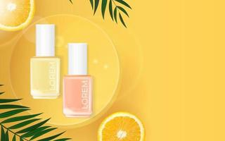 fond de palmier d'été de vernis à ongles. modèle de produit cosmétique pour publicité, magazine, échantillon de produit vecteur