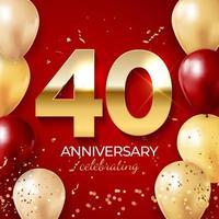décoration de célébration d'anniversaire. nombre d'or 40 avec des confettis, des ballons, des paillettes et des rubans de banderoles sur fond rouge vecteur