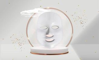 masque facial cosmétique mené et bouteille de crème. gadget anti-vieillissement pour les soins à domicile vecteur