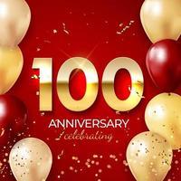 décoration de célébration d'anniversaire. nombre d'or 100 avec des confettis, des ballons, des paillettes et des rubans de banderoles sur fond rouge vecteur