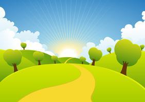 Fond rural de saisons de printemps ou d'été vecteur