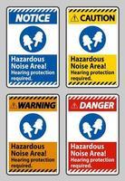 zone de bruit dangereux, protection auditive requise vecteur