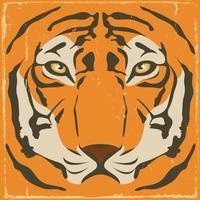 Vintage Tiger Stripes Sur Fond Grunge vecteur