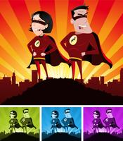 Super héros masculins et féminins vecteur
