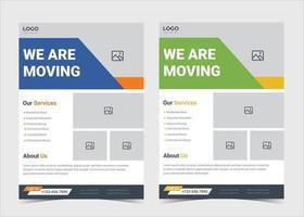 nous déplaçons le modèle de flyer. modèle d'affiche de services de déménagement de maison. modèle d'affiche de flyer d'agence de changement de maison. modèle de flyer de déménageurs fiables et rapides. conception de modèle de flyer de service d'experts en déménagement de confiance. vecteur
