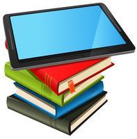 Livre pile et écran bleu tablette pc vecteur