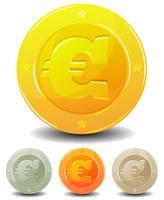 dessin animé euro pièces ensemble vecteur