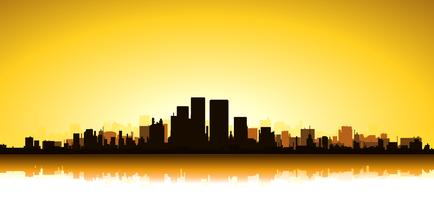 Paysage urbain d'or vecteur