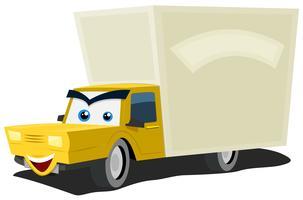 Personnage de camion de livraison de dessin animé vecteur