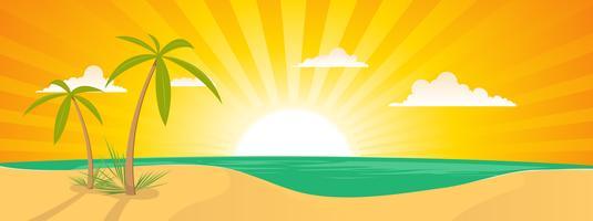 Bannière de paysage de plage exotique d'été vecteur