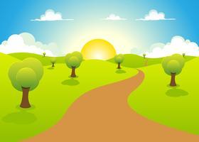 Dessin animé printemps ou paysage d'été