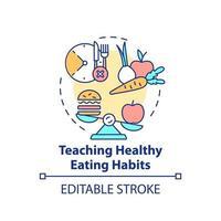 enseignement de l'icône de concept d'habitudes alimentaires saines vecteur