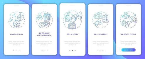 règles de marque personnelles écran de page d'application mobile d'intégration bleue avec concepts vecteur