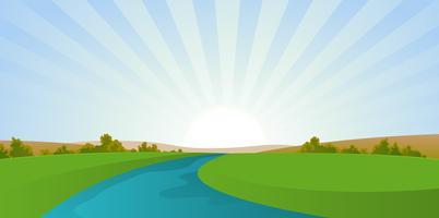 Dessin animé rivière paysage