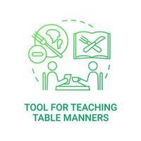 outil pour enseigner l'icône de concept de manières de table. les besoins des repas scolaires. donner des connaissances sur la façon d'être gentil. illustration de fine ligne d'idée de repas de repas. dessin de couleur rvb contour isolé vecteur