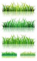 Ensemble d'herbe verte de printemps ou d'été vecteur