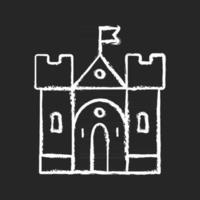icône blanche de craie de château médiéval sur le fond noir. bâtiment historique. forteresse, palais. logements et fortifications. moyen Âge. Residence royale. illustration de tableau de vecteur isolé