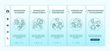 modèle vectoriel d'intégration des mesures préventives contre la perte auditive. site Web mobile réactif avec des icônes. page Web pas à pas, écrans en 5 étapes. dépistage du concept de couleur des maladies avec des illustrations linéaires