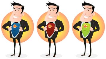 Dessin animé Super Hero Double Identity Set vecteur