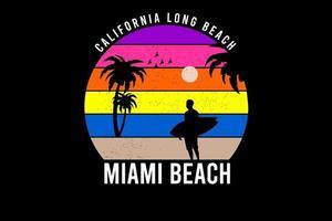 tee shirt california long beach miami beach couleur jaune et orange violet vecteur
