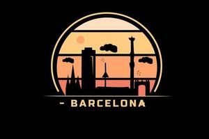Barcelone couleur orange et jaune vecteur