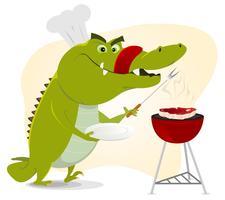 Barbecue de crocodile de dessin animé vecteur
