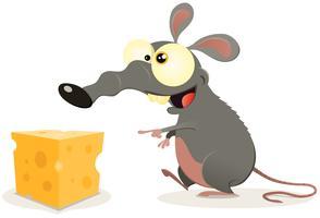 Dessin animé rat et morceau de fromage