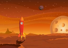 vaisseau spatial sur paysage martien vecteur