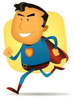 super-héros comique en cours d'exécution vecteur