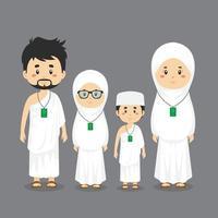 famille portant l'ihram pendant le hajj vecteur