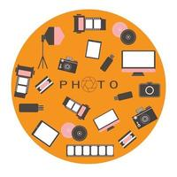 logo de studio photo. style hipster. vecteur