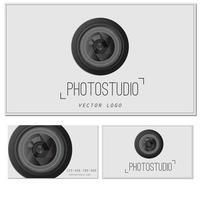 caméra zoom lens.photo studio logo et modèle de carte de visite. vecteur
