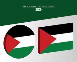 le drapeau national 3d de la conception vectorielle de la Palestine vecteur
