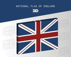 le drapeau national 3d de la conception de vecteur de l'angleterre