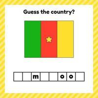 feuille de travail sur la géographie pour les enfants d'âge préscolaire et scolaire. mots croisés. drapeau du cameroun. gueule le pays. vecteur
