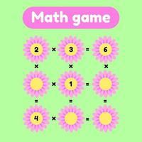 illustration vectorielle. jeu de mathématiques pour les enfants d'âge préscolaire et scolaire. compte et insère les bons nombres. multiplication. clairière avec des fleurs roses. vecteur