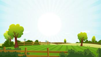 L'agriculture et l'agriculture paysage d'été vecteur
