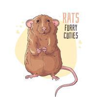 illustrations vectorielles dessinées à la main. rat réaliste mignon. vecteur