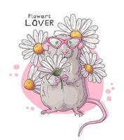 illustrations vectorielles dessinées à la main. rat réaliste mignon avec des fleurs. vecteur