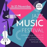 Vecteur d'affiche festival de musique jazz