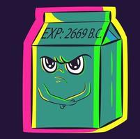 art conceptuel d'un personnage de dessin animé drôle. un carton de lait gâté et périmé restant les bras croisés en position de gamin. boîte de yaourt avec une expression faciale ingrate jetant une crise de colère vecteur