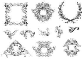 Ensemble vectoriel de cadres et d'ornements frangés