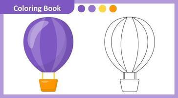 livre de coloriage montgolfière vecteur