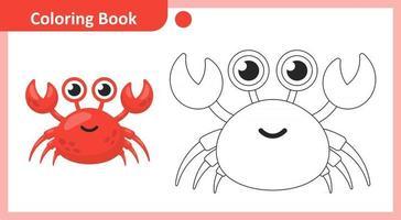 livre de coloriage crabe vecteur